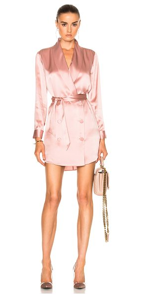 Michelle Mason Belted Dress Jacket in dark blush - Self & Lining: 100% silk. Made in China. Dry clean only....