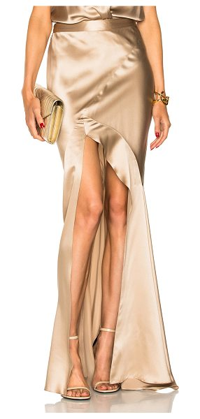 Michelle Mason Bias Maxi Skirt in neutrals,metallics - 100% silk.  Made in China.  Dry clean only.  Hidden side...