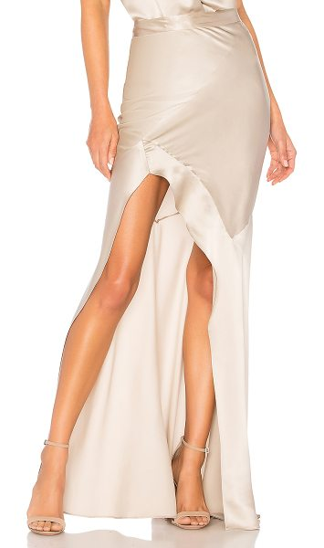"Michelle Mason Bias Maxi Skirt in metallic neutral - ""100% silk. Dry clean only. Unlined. Asymmetrical hem...."