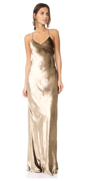MICHELLE MASON bias maxi velvet gown - Slim straps trace the shoulders of this stunning...