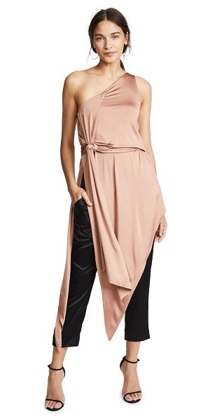 Michelle Mason bodysuit dress in desert rose - Fabric: Slinky jersey Scarf sash at neckline Built-in...