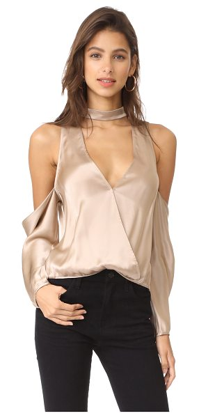 Michelle Mason cold shoulder blouse in champagne - This lustrous Michelle Mason top is styled with bold...
