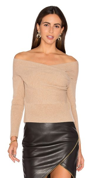 Michelle Mason Cross Wrap Sweater in tan - 70% merino wool 30% cashmere. Dry clean only. Wrap...