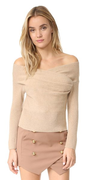 Michelle Mason cross wrap sweater in nude - Crossover panels lend a wrapped effect to this...