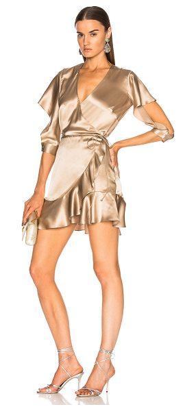MICHELLE MASON for FWRD Flutter Wrap Dress - 100% silk.  Made in China.  Dry clean only.  Unlined.  Wrap...