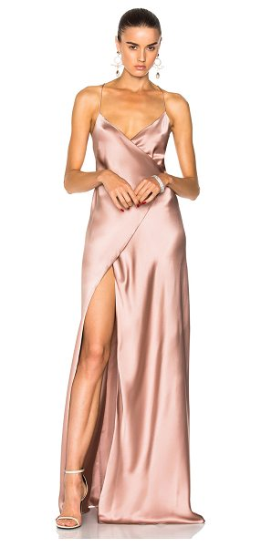 Michelle Mason for FWRD Strappy Wrap Gown in pink - Self & Lining: 100% silk.  Made in China.  Dry clean...