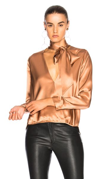MICHELLE MASON for FWRD Wrap Blouse - 100% silk.  Made in China.  Dry clean only.  Crossover...