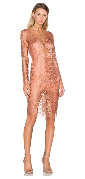 MICHELLE MASON Long Sleeve Lace Dress - Self: 63% poly 32% viscose 5% elastaneContrast: 69%...