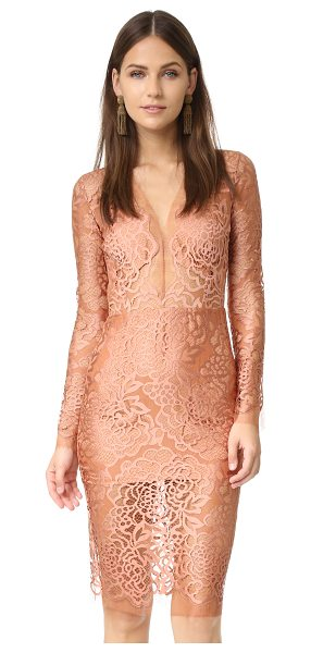 Michelle Mason long sleeve lace dress in terracotta - A sharp-seamed Michelle Mason dress crafted in...