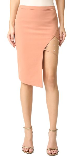 Michelle Mason Mesh panel asymmetrical skirt in terracotta - A sheer, flocked mesh panel adds a flirty touch to this...