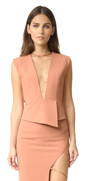 Michelle Mason mesh plunge top in terracotta - A sheer, flocked mesh panel adds a flirty touch to this...