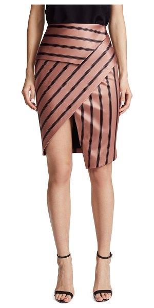 MICHELLE MASON peplum skirt - Fabric: Satin Notched slit at uneven hem Striped print Knee...