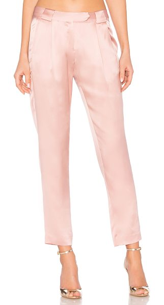 Michelle Mason Pleat Trouser in dark blush - Self & Lining: 100% silk. Dry clean only. Hook and bar...