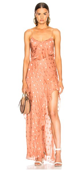 Michelle Mason Strappy Ruffle Gown in polka dots,pink - Launched in 2002 as a contemporary diffusion line from...