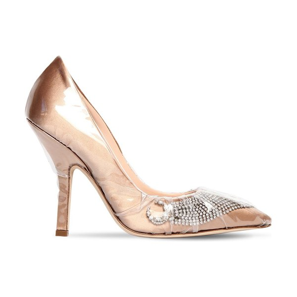 Midnight 00 105mm embellished plexi & satin pumps in nude - 105mm Heel. Plexi covered satin upper. Crystal...