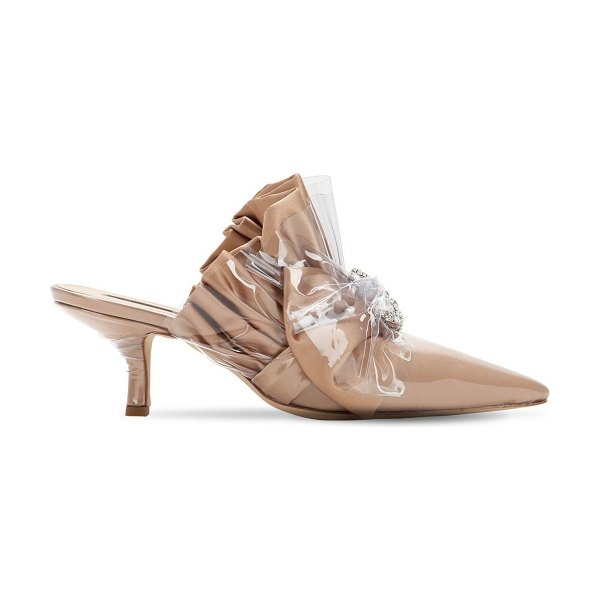 Midnight 00 65mm embellished plexi & satin mules in nude