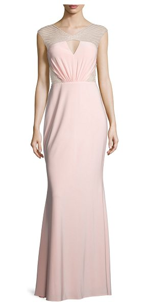 Mignon Cap-Sleeve Embellished-Inset Gown in pink - Mignon jersey gown with beaded mesh detail. Approx....