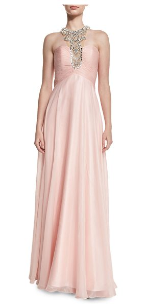 MIGNON Glitter chiffon gown with embellished neckline - Mignon glitter gown with cutout back. Embellished halter...