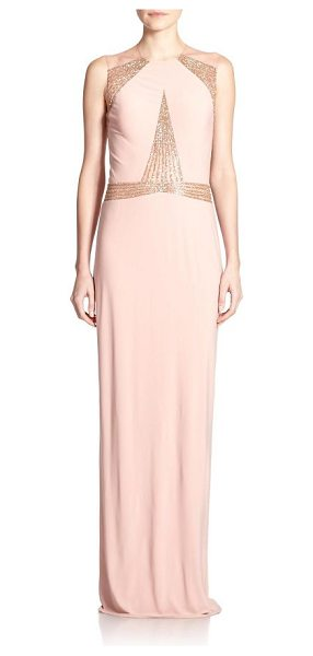 Mignon Paneled jersey gown in blush - Angular beaded panels dress up this fluid jersey gown,...
