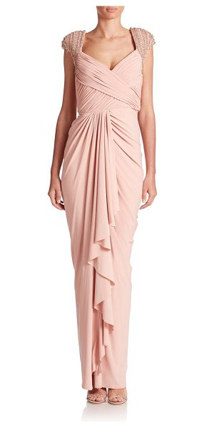 MIGNON Ruched jersey beaded gown - Ruched detailing creates the form flattering essense of...