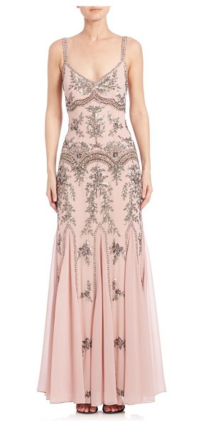 Mignon sleeveless beaded gown in powder pink - Intricately beaded gown evokes a vintage...