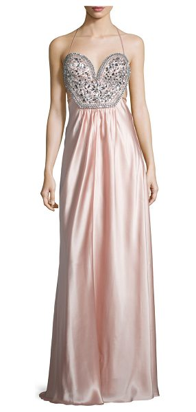 Mignon Sleeveless Embellished-Bodice Gown in blush - Mignon charmeuse gown with rhinestone embellishments....