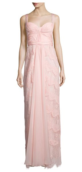 Mignon Sleeveless sweetheart-neck layered lace dress in pink - Mignon lace gown adorned with pleated, draped tulle....
