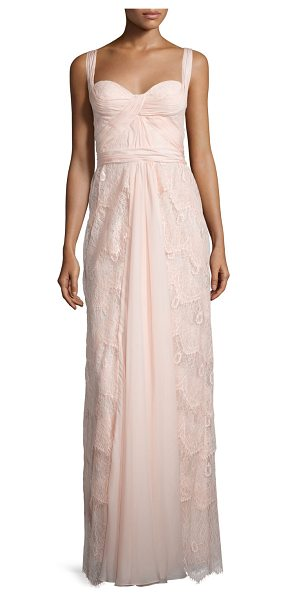 Mignon Sleeveless sweetheart-neck layered lace dress in petal - Mignon lace gown adorned with pleated, draped tulle....
