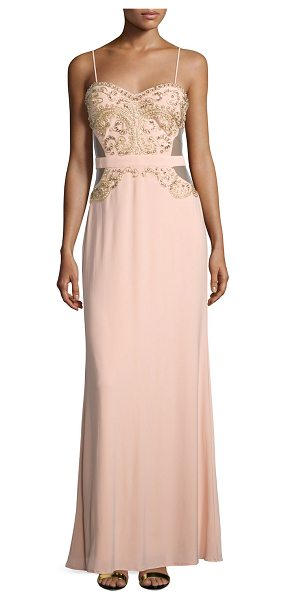 """Mignon Sweetheart Embellished Gown in apricot - Mignon embellished gown with cutout back. Approx. 60""""L..."""