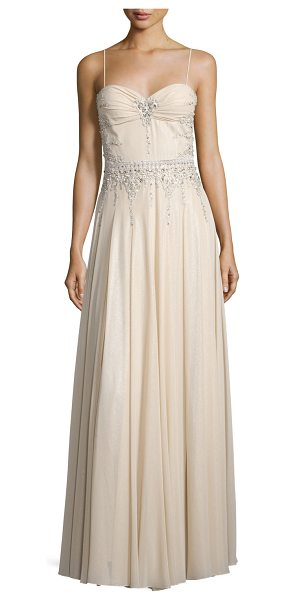 Mignon Sweetheart-Neck Embellished Gown in champagne - Mignon chiffon gown with rhinestone embellishments....