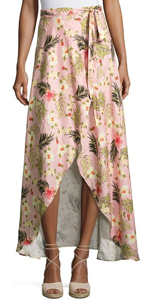 "MIGUELINA Ballerina Printed Long Wrap Linen Skirt - Miguelina ""Ballerina"" skirt in palm-printed linen. Wrap..."