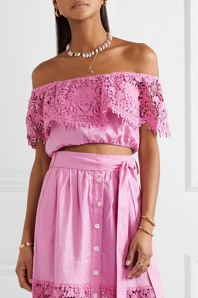Miguelina dakota cropped off-the-shoulder guipure lace-trimmed linen top in pink