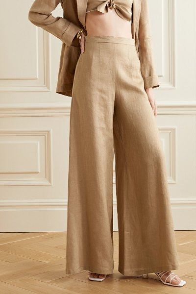 Miguelina pamela linen wide-leg pants in light brown