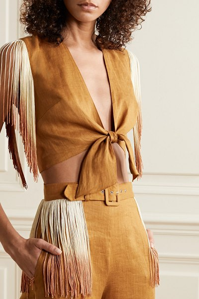 Miguelina sheena cropped tie-front fringed linen top in light brown