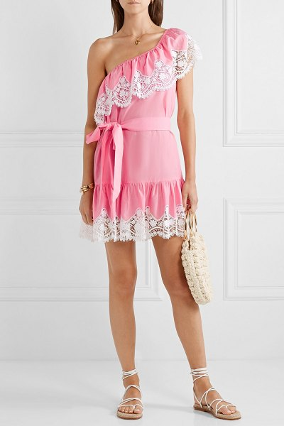 Miguelina summer one-shoulder crochet-trimmed linen mini dress in pink