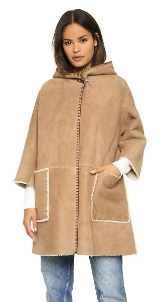 M.i.h Jeans Bay shearling coat in toffee - A hooded shearling MiH jacket in a relaxed silhouette. A...