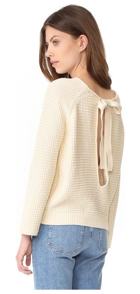 M.i.h Jeans opening sweater in cream - Ties drape over the split back of this cozy M.i.h Jeans...