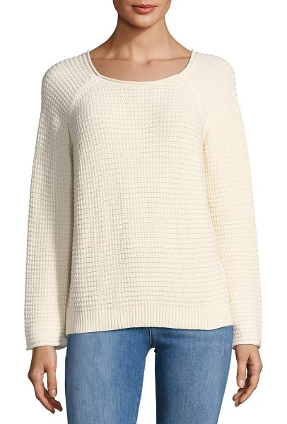 "M.i.h Jeans Opening Waffle-Knit Tieback Sweater in beige - M.i.h ""Opening"" waffle-knit sweater. Cutout and ties at..."