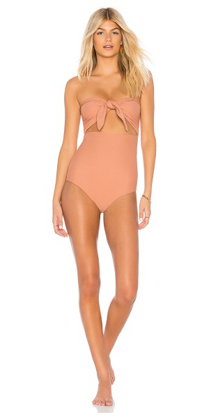 MIKOH Lana One Piece in peach - 80% nylon 20% spandex. Hand wash cold. Front cut-out...