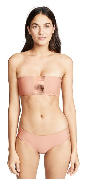 MIKOH sunset looped bandeau top in honey - Looped strap back Strappy front panel Bandeau top Lined...