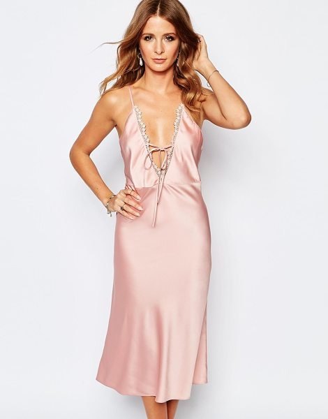 MILLIE MACKINTOSH Slinky Tie Front Slip Dress - Dress by Millie Mackintosh, Slinky woven fabric, Deep...