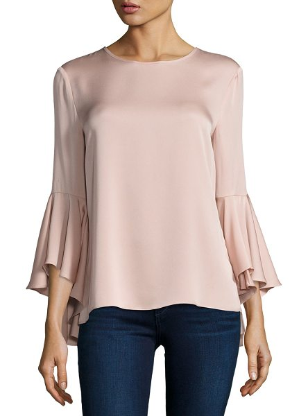 "MILLY 3/4-Bell-Sleeve Stretch-Silk Blouse - Milly stretch-silk blouse. Approx. 23.5""L from shoulder..."