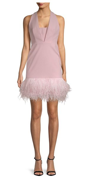 MILLY amy feather sheath dress - Crisp sheath dress with statement feather hem. Halter...