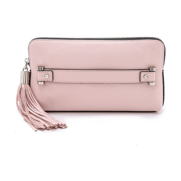 Milly Astor clutch in blush - A boxy Milly clutch in pebbled leather. A large tassel...