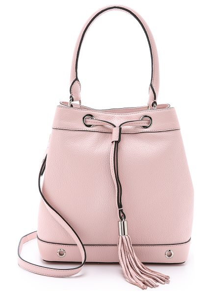 Milly Astor drawstring bucket bag in blush