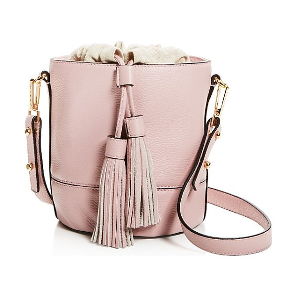 Milly Astor Drawstring Leather Bucket Bag in dusty rose pink/gold - Milly Astor Drawstring Leather Bucket Bag-Handbags