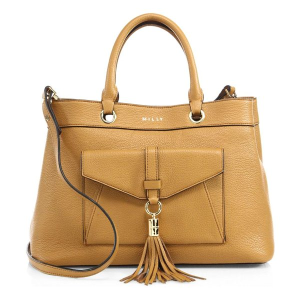 Milly astor leather tote in caramel - Slouchy pebbled leather tote with front tassel detail....