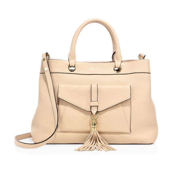 Milly astor leather tote in nude - Slouchy pebbled leather tote with front tassel detail....