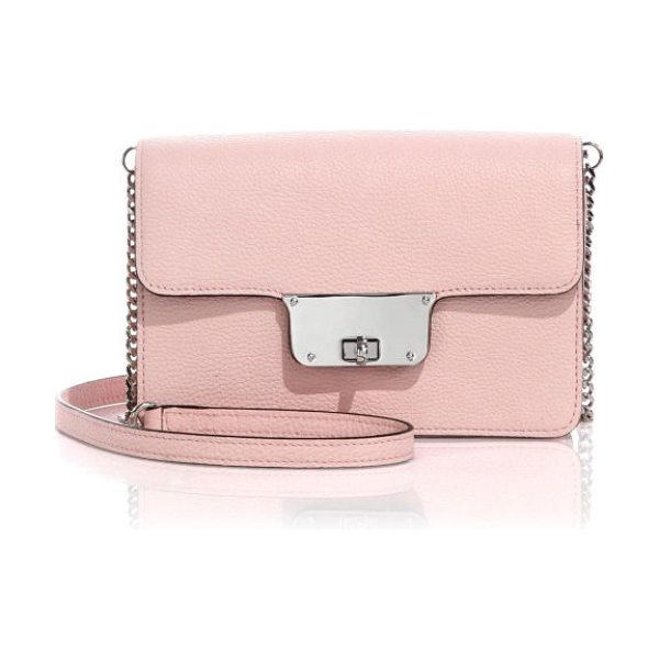 Milly Astor mini leather crossbody bag in blush - A sleek and stylish design crafted of rich pebbled...
