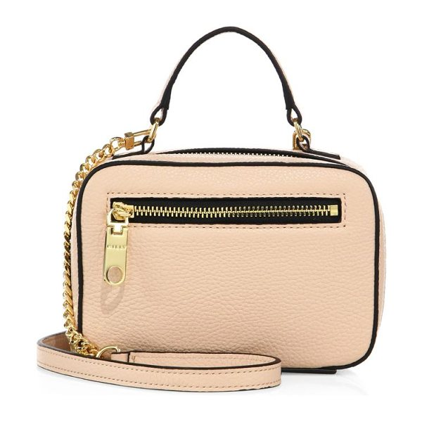 Milly astor mini leather satchel in nude - Mini boxy shape cast in polished pebbled leather. Top...